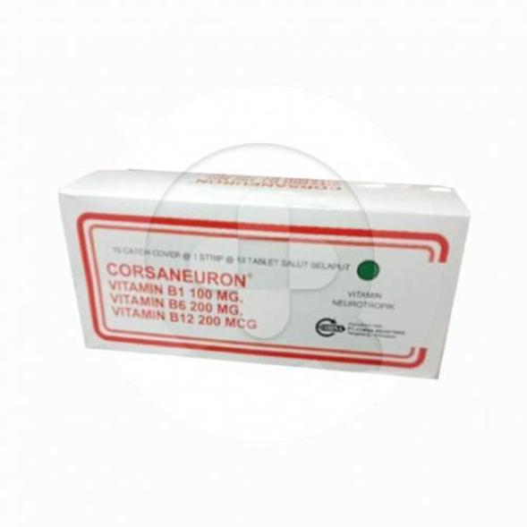 Corsaneuron Tablet digunakan untuk mengobati masalah akibat kekurangan vitamin B1, B6, B12.