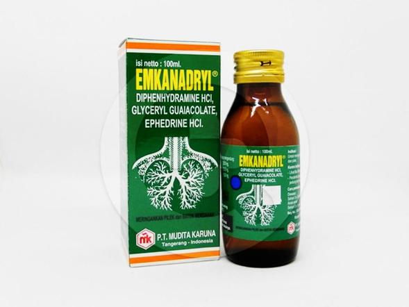 Emkanadryl sirup 100 ml untuk meringankan batuk berdahak dan pilek.