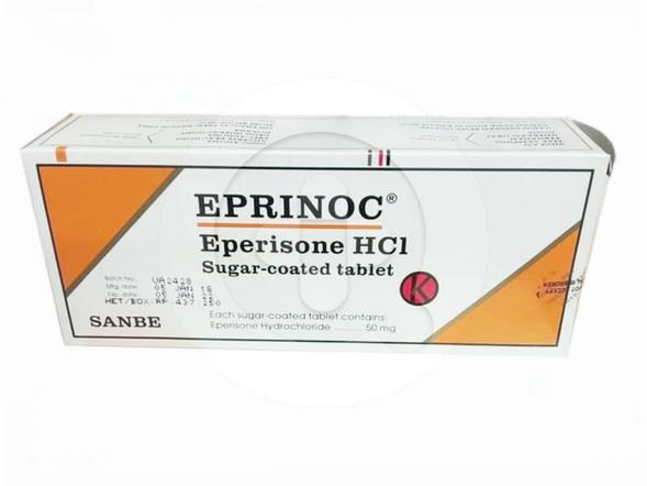Eprinoc tablet digunakan untuk pengobatan dan meredakan gejala yang berhubungan dengan kejang yang mengganggu fungsi sendi, ligamen, otot, saraf dan tendon, serta tulang belakang (spasme muskuloskleletal).