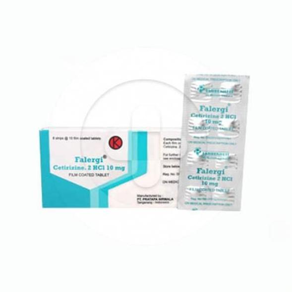 Falergi tablet digunakan untuk mengobati rinitis alergi tahunan dan musiman serta urtikaria idiopatik kronik.