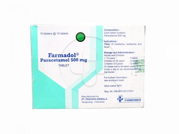 Farmadol tablet adalah obat untuk meringankan sakit kepala, sakit gigi, nyeri otot, dan menurunkan demam.