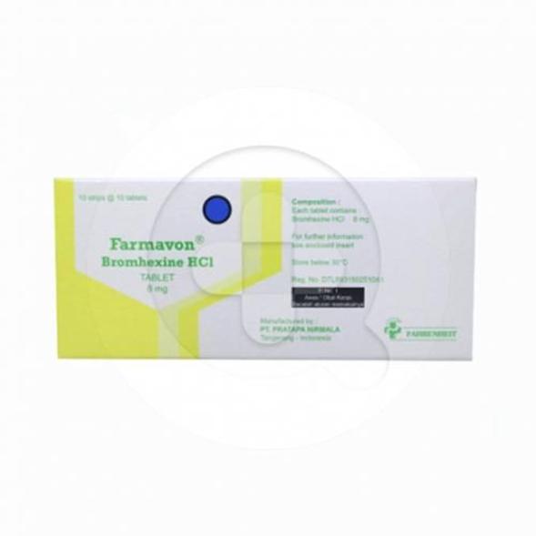 Farmavon tablet adalah obat yang digunakan untuk meredakan batuk berdahak dan mengencerkan dahak (mukolitik).