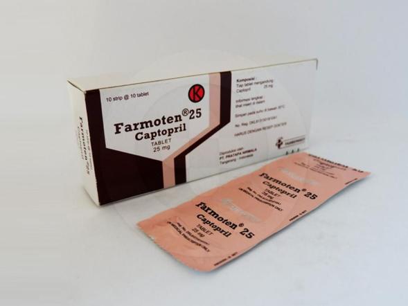 Farmoten tablet 25 mg obat untuk mengatasi hipertensi dan gagal jantung.