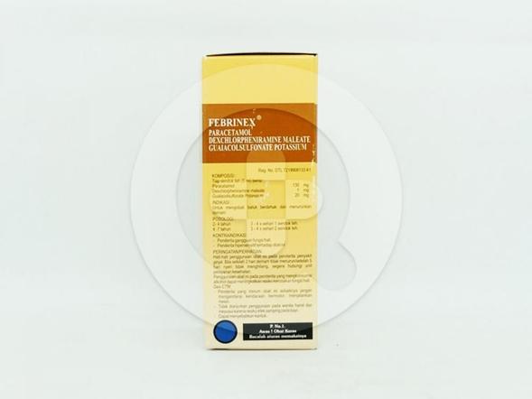 Febrinex suspensi 60 ml untuk mengobati batuk berdahak dan menurunkan demam.