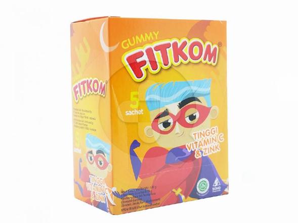 Fitkom Gummy Vitamin C dan Zinc merupakan permen gula lunak yang digunakan sebagai multivitamin dan meningkatkan daya tahan tubuh anak.