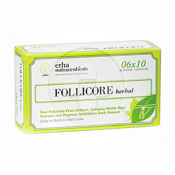Follicare herbal kapsul adalah suplemen untuk mengurangi kerontokan rambut.