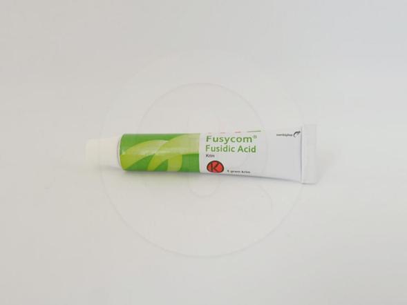 Fusycom krim 5 g untuk pengobatan infeksi kulit yang disebabkan oleh Staphylococcus atau bakteri lain yang sensitif terhadap asam fusidat.