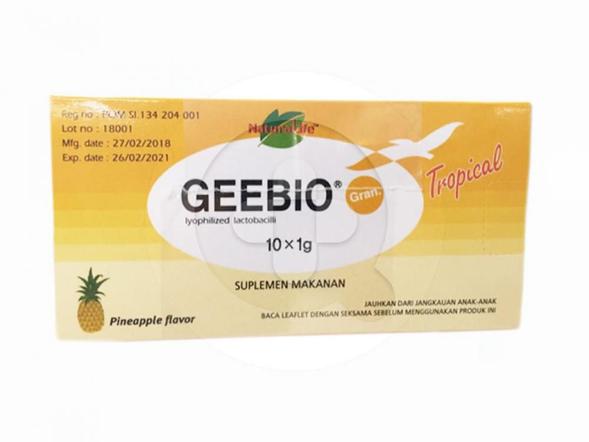 Geebio sachet digunakan untuk membantu memelihara kesehatan pencernaan pada anak-anak dan dewasa.