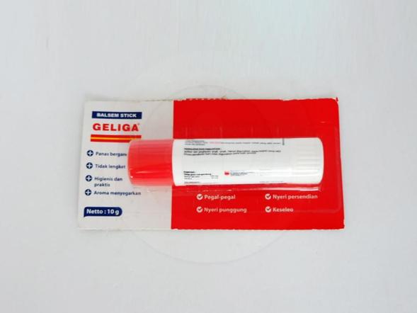 Geliga balsem stick 10 g untuk membantu meredakan pegal-pegal, nyeri otot, nyeri sendi, keseleo, terkilir, sakit kepala, dan sakit otot leher.
