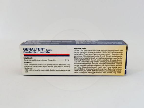 Genalten adalah obat untuk pengobatan infeksi kulit primer maupun sekunder yang disebabkan bakteri.