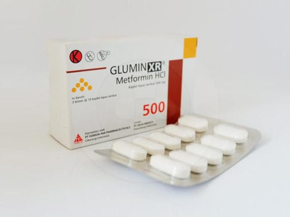 Glumin XR kaplet 500 mg obat yang digunakan bersama dengan diet dan olahraga bagi penderita diabetes melitus tipe 2.