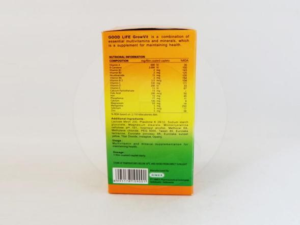 Good life Grow vit Kaplet adalah sumplemen makanan yang membantu menjaga kesehatan tubuh.