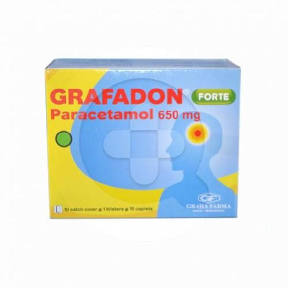 Grafadon Forte kaplet digunakan untuk meredakan sakit kepala, sakit gigi dan menurunkan demam.