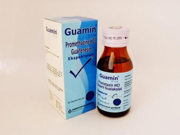 Guamin sirup 60 ml obat yang merupakan antihistamin yang dapat meredakan batuk.