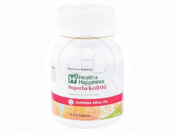 H2 Health and Happiness Superba Krill Oil kapsul digunakan untuk memelihara kesehatan dan menurunkan kadar kolesterol darah.