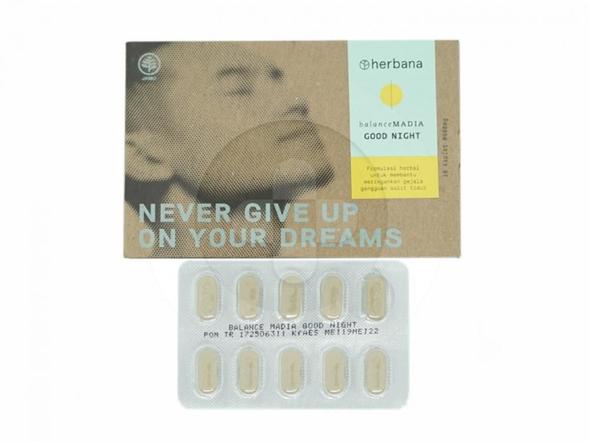 Herbana Balance Madia Good Night Kaplet digunakan untuk membantu meringankan gejala gangguan sulit tidur.