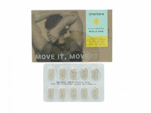 Herbana Balance Madia Muscle Ease kaplet digunakan untuk membantu meredakan rasa letih pada otot seperti nyeri, sakit pinggang dan pegal linu.