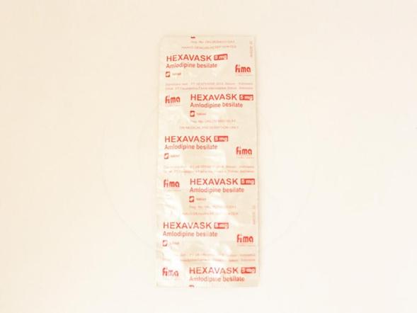Hexavask tablet 5 mg obat yang digunakan untuk mengobati hipertensi dan angina.