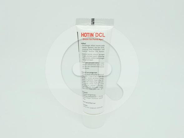 Hotin DCL Emulsi Gel 30 g untuk mengobati peradangan akibat trauma pada tendon, rematik jaringan lunak dan penyakit rematik lokal.