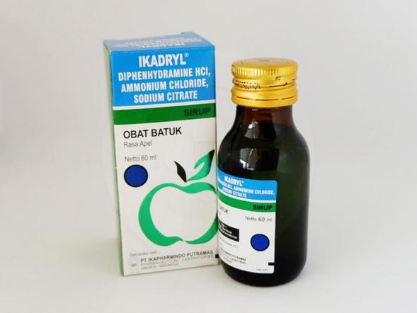 Ikadryl sirup 60 ml merupakan obat untuk meredakan batuk karena alergi, meredakan flu, melegakan saluran penapasan.