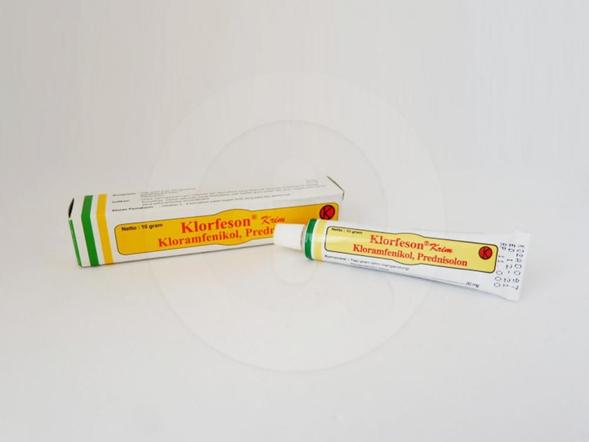 Klorfeson krim 10 g untuk meringankan nyeri inflamasi dari penyakit yang menyererang kulit akibat infeksi sekunder oleh bakteri serta kuman yang peka terhadap kloramfenikol.