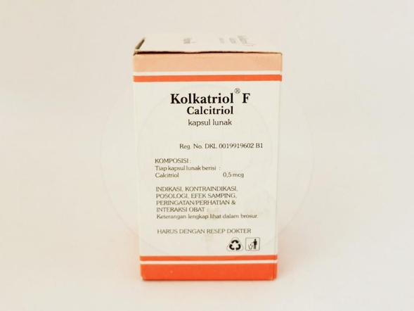 Kolkatriol F kapsul 0,5 mcg obat untuk mengobati osteoporosis dan hipoparatiroid.