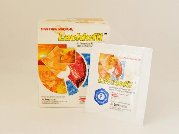 Lacidofil sachet 1 g obat untuk membantu memelihara kesehatan fungsi pencernaan.