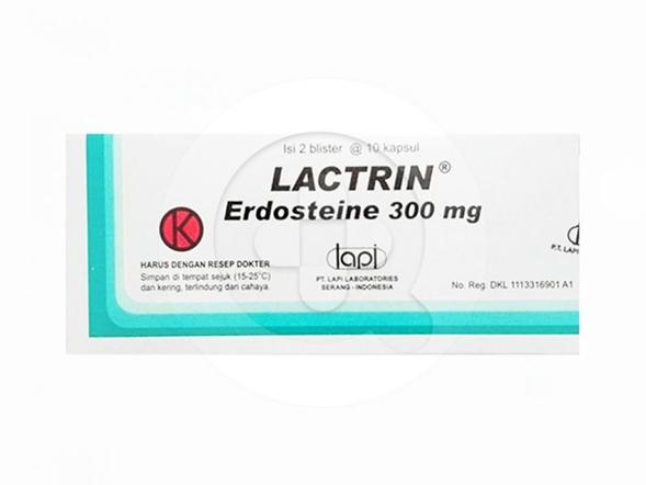 Lactrin kapsul digunakan untuk mengencerkan dahak pada gangguan saluran napas akut dan kronik.