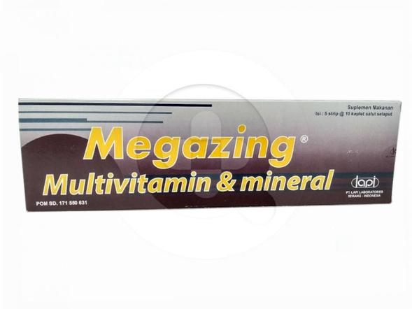 Megazing kaplet digunakan untuk pengobatan kekurangan (defisiensi) vitamin dan sebagai suplemen harian vitamin E, kalsium dan zinc.