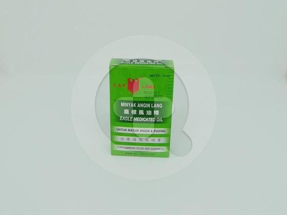 Minyak angin lang 12 ml membantu meredakan gejala masuk angin, pusing, mabuk perjalanan, mual, pegal-pegal dan gatal-gatal karena gigitan nyamuk dan serangga.