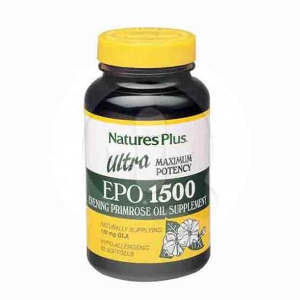 Nature's Plus Ultra EPO 1500 kapsul adalah suplemen untuk meringankan gejala menopause