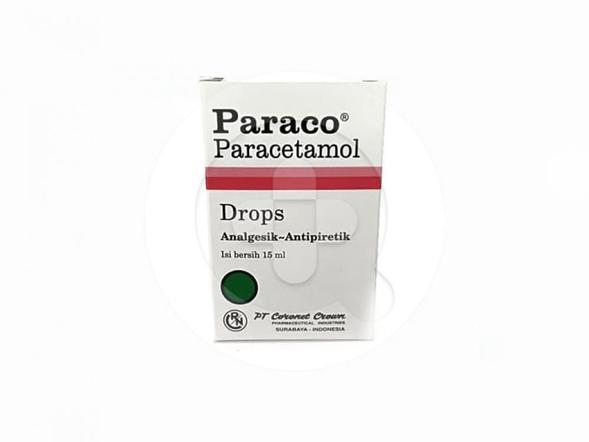 Paraco drop digunakan untuk meredakan nyeri dan menurunkan demam.
