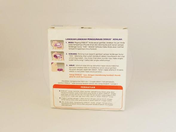 Seretide diskus inhaler bubuk 50/500 mcg untuk terapi reguler penyakit obstruktif saluran napas yang reversibel termasuk asma, serta terapi penyakit paru obstruktif kronis termasuk bronkitis kronik dan emfisema.
