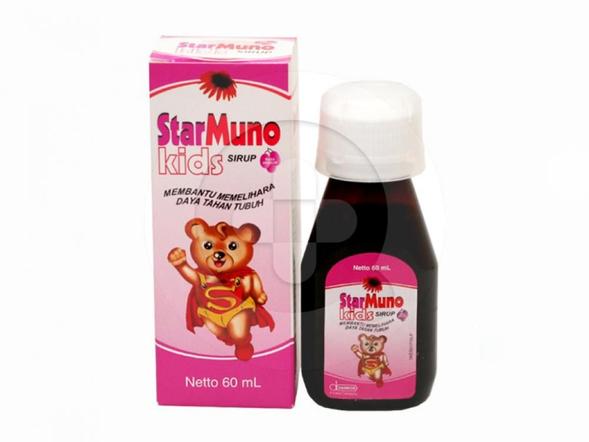 Starmuno Kids sirup digunakan untuk memperbaiki daya tahan tubuh dan meredakan batuk pilek (common cold).