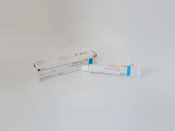 Termisil krim 10 g untuk pengobatan topikal infeksi jamur pada kulit seperti tinea kruris dan tinea korporis yang disebabkan oleh trichophyton rubrum, trichophyton mentagrophyfes, epidermophyton flaccosum.