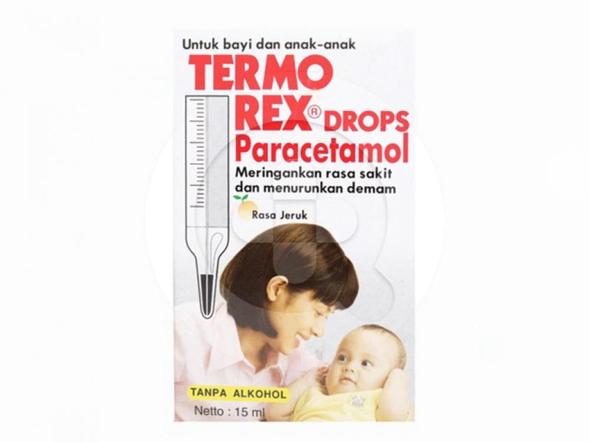 Termorex Baby drop digunakan untuk menurunkan panas dan demam pada bayi dan anak-anak.