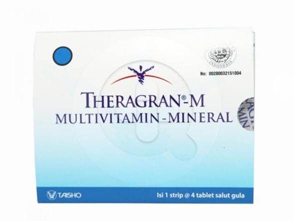 Theragran-M tablet digunakan untuk mengatasi kekurangan (defisiensi) vitamin pada sebelum dan sesudah operasi serta masa penyembuhan.