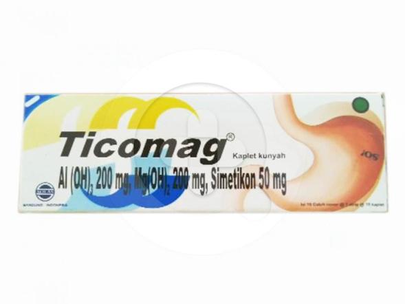 Ticomag kaplet kunyah digunakan untuk mengatasi peningkatan asam lambung.