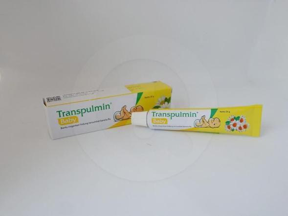 Transpulmin baby balsem 20 g berguna untuk membantu meringankan hidung tersumbat karena flu, nyeri di punggung, sakit kepala, sakit perut dan menghangatkan badan.