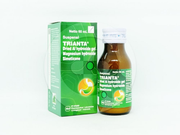 Trianta suspensi 60 ml adalah obat yang berguna untuk mengurangi gejala-gejala yang berhubungan dengan kelebihan asam lambung.