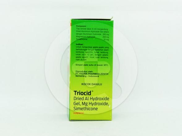 Triocid suspensi 60 ml untuk mengurangi gejala-gejala yang berhubungan dengan kelebihan asam lambung.