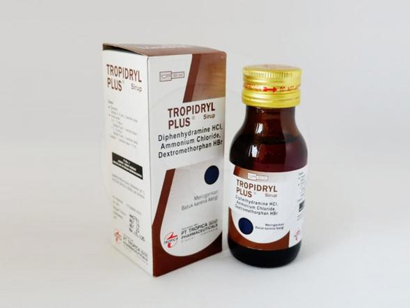 Tropidryl plus sirup 60 mladalah obat yang digunakan untuk meringankan batuk karena alergi.