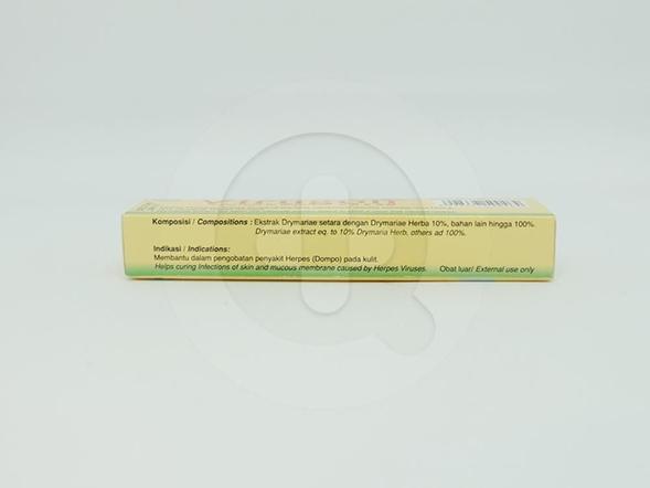 Virugon krim 5 g untuk membantu meredakan infeksi herpes pada kulit.