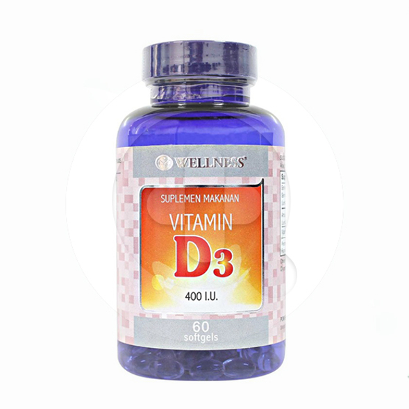 Wellness Vitamin D3 kapsul adalah suplemen untuk membantu penyerapan calcium dan fosfat