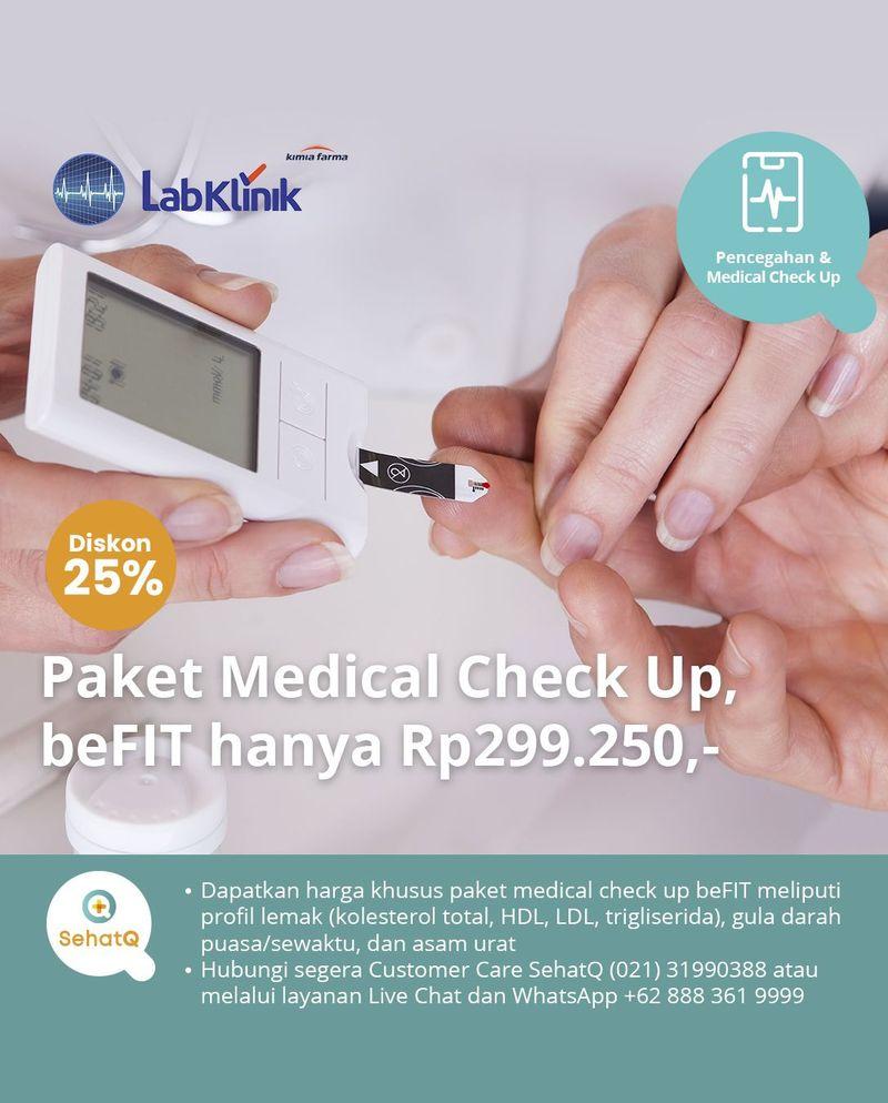 Paket medical check up beFIT di seluruh cabang Laboratorium Klinik Kimia Farma