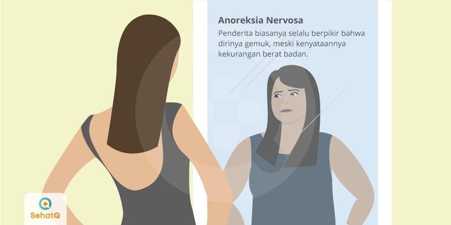 Penderita Anorexia biasanya akan selalu menyangkal rasa lapar dan berpikir dirinya gemuk