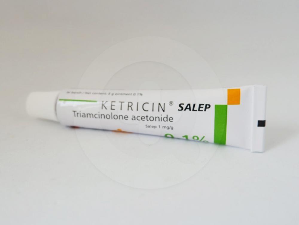 Ketricin 0,1% salep 5 g obat untuk mengobati lesi akut dan kronik pada lapisan mukosa mulut.