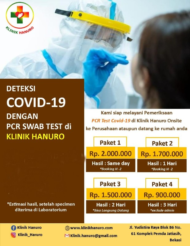 PCR SWAB Test Covid-19 (3 Days Result) - Klinik Hanuro